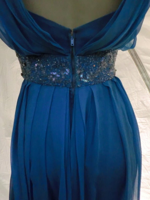 "1960s Royal Blue Silk Chiffon Draped ""Grecian"" Style Gown w/ Jeweled Cummerbund 7"