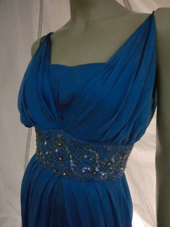 "1960s Royal Blue Silk Chiffon Draped ""Grecian"" Style Gown w/ Jeweled Cummerbund 8"