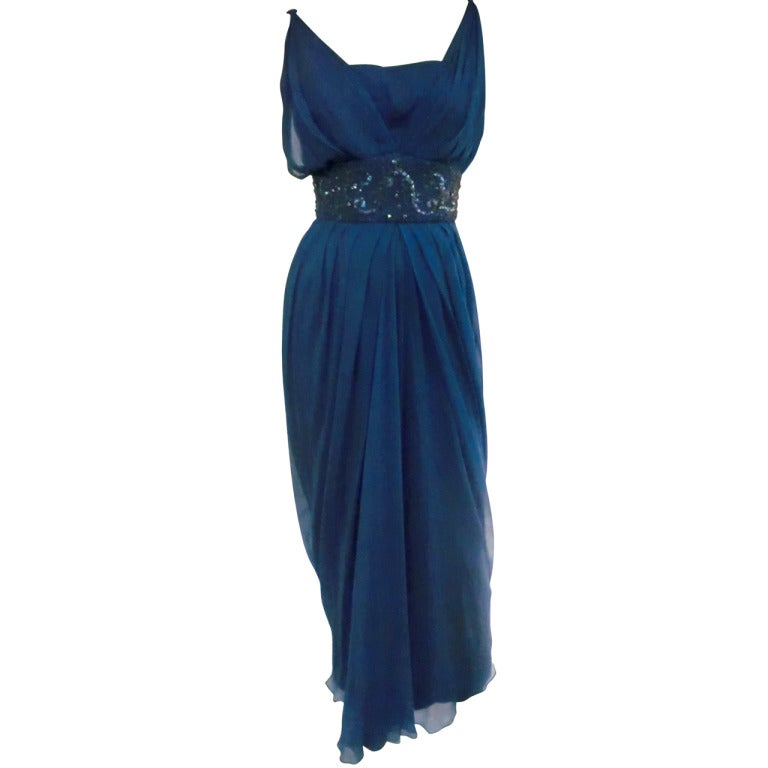 "1960s Royal Blue Silk Chiffon Draped ""Grecian"" Style Gown w/ Jeweled Cummerbund 1"