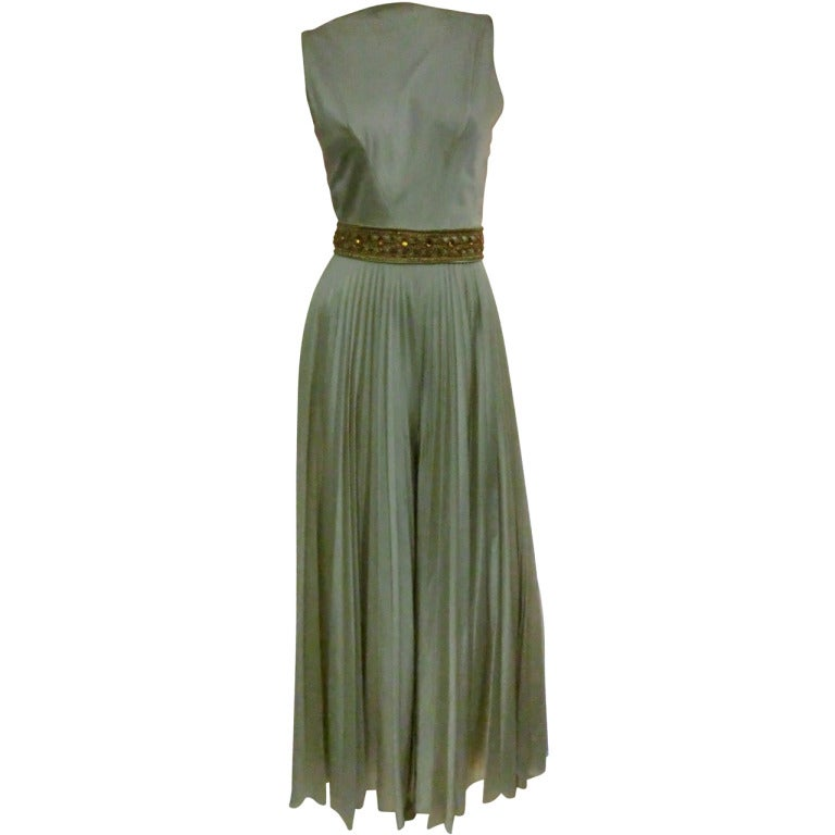 1960s Mint Green/Gray Satin Pleated Leg Evening Jumpsuit 1