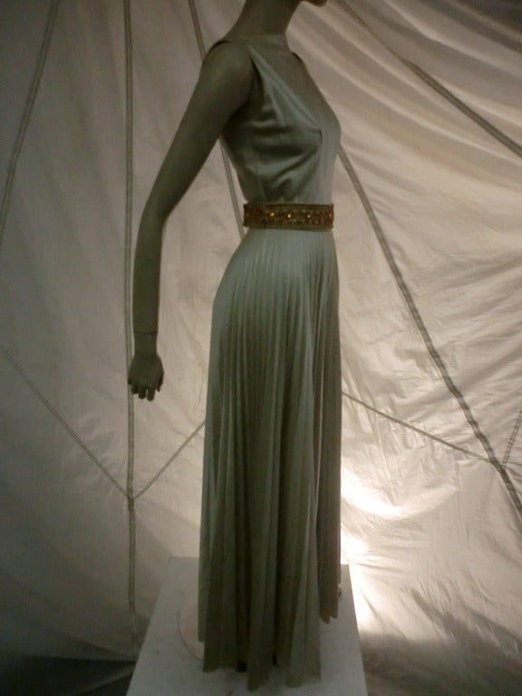 1960s Mint Green/Gray Satin Pleated Leg Evening Jumpsuit In Excellent Condition For Sale In San Francisco, CA