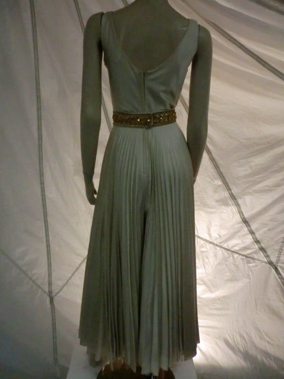1960s Mint Green/Gray Satin Pleated Leg Evening Jumpsuit 4