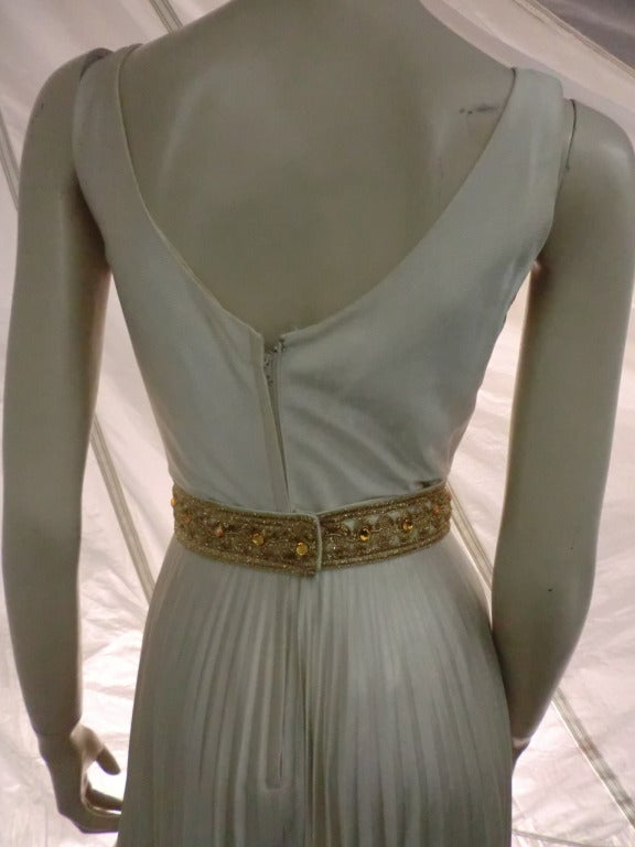 1960s Mint Green/Gray Satin Pleated Leg Evening Jumpsuit 9