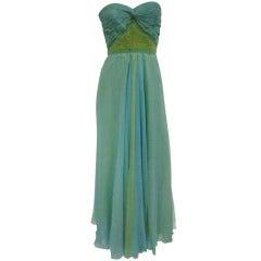 1960s Strapless Mermaid Silk Chiffon Gown
