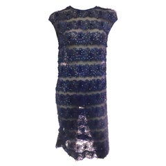 1960s Sheer Lace and Tulle Sequined Shift Dress in Cobalt Blue