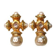 1990s Prevost Baroque Cross Faux Pearl Clip Earrings