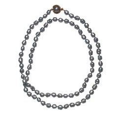 "1980s Chanel 44"" Gunmetal Baroque Faux Pearl Single Strand"