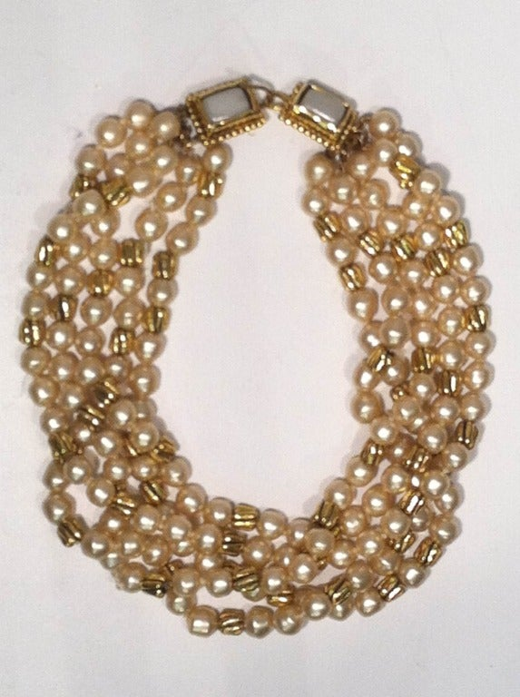 1980s Chanel 5-Strand Faux Pearl Baroque Necklace 2