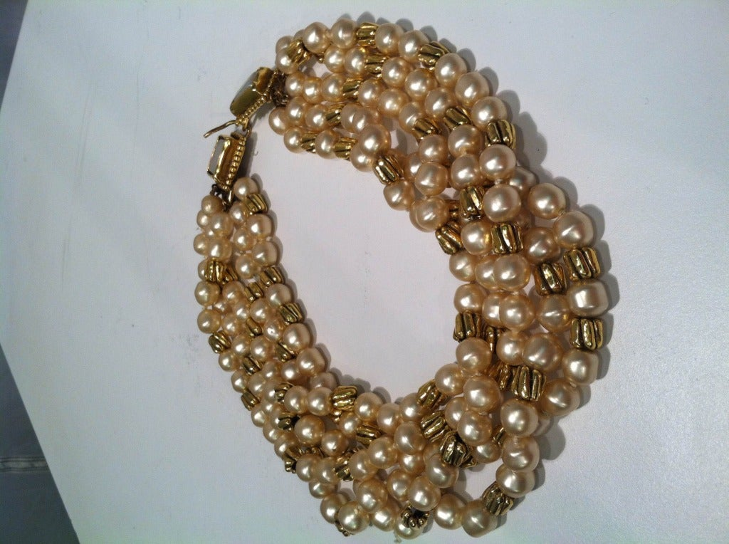 1980s Chanel 5-Strand Faux Pearl Baroque Necklace 3