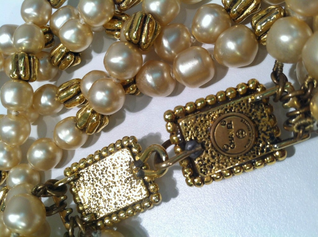 1980s Chanel 5-Strand Faux Pearl Baroque Necklace 4