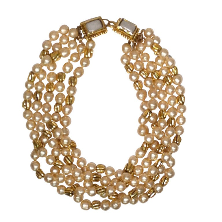 1980s Chanel 5-Strand Faux Pearl Baroque Necklace 1