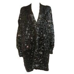 1990s Donna Karan Black Sequined Oversized Cardigan