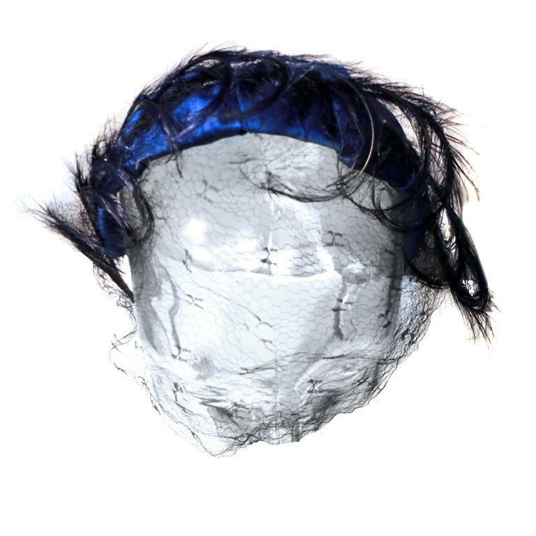 1950s Royal Blue Satin and Feather Cocktail Hat w/ Veil For Sale