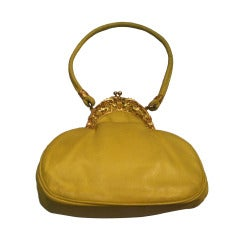 1970s Rosenfeld Lemon Yellow Leather Evening Bag w/ Filigree