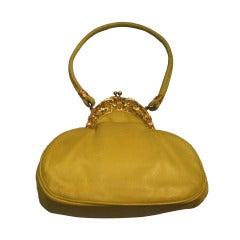 1970s Rosenfeld Lemon Yellow Leather Evening Bag w/ Filigree