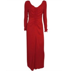 1980s Galanos Red Crepe Gown with Dramatic Slit