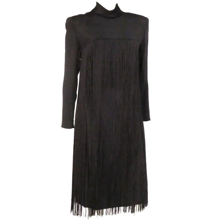 1970s Travilla Black Crepe Fringed Cocktail Dress