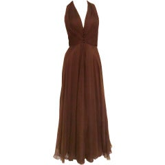 1970s Mr. Blackwell Chocolate Brown Chiffon Halter Gown