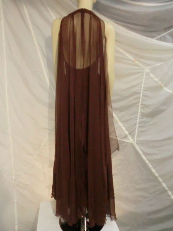 1970s Mr. Blackwell Chocolate Brown Chiffon Halter Gown In Excellent Condition For Sale In San Francisco, CA