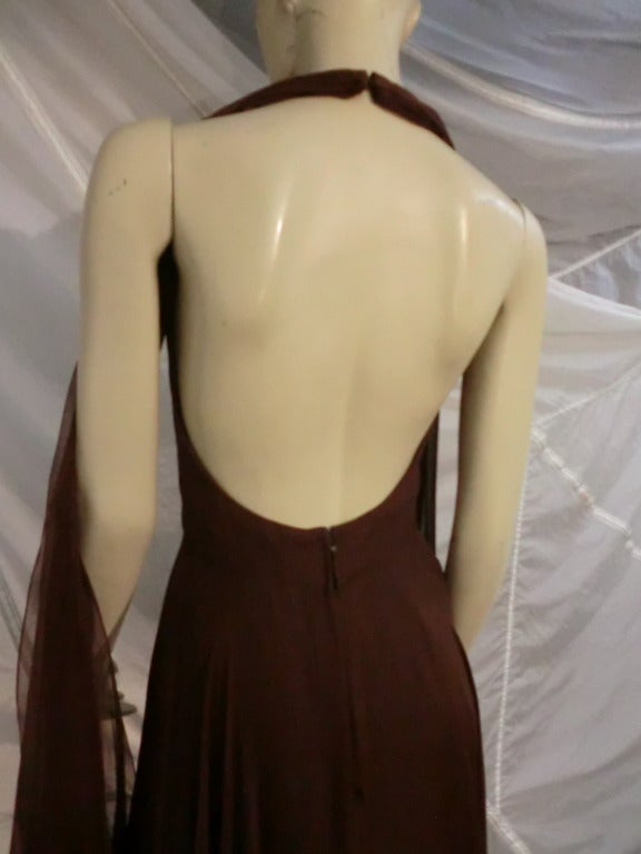 Women's 1970s Mr. Blackwell Chocolate Brown Chiffon Halter Gown For Sale