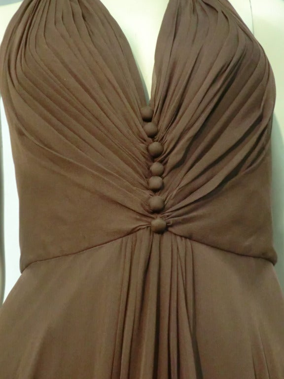 1970s Mr. Blackwell Chocolate Brown Chiffon Halter Gown For Sale 1