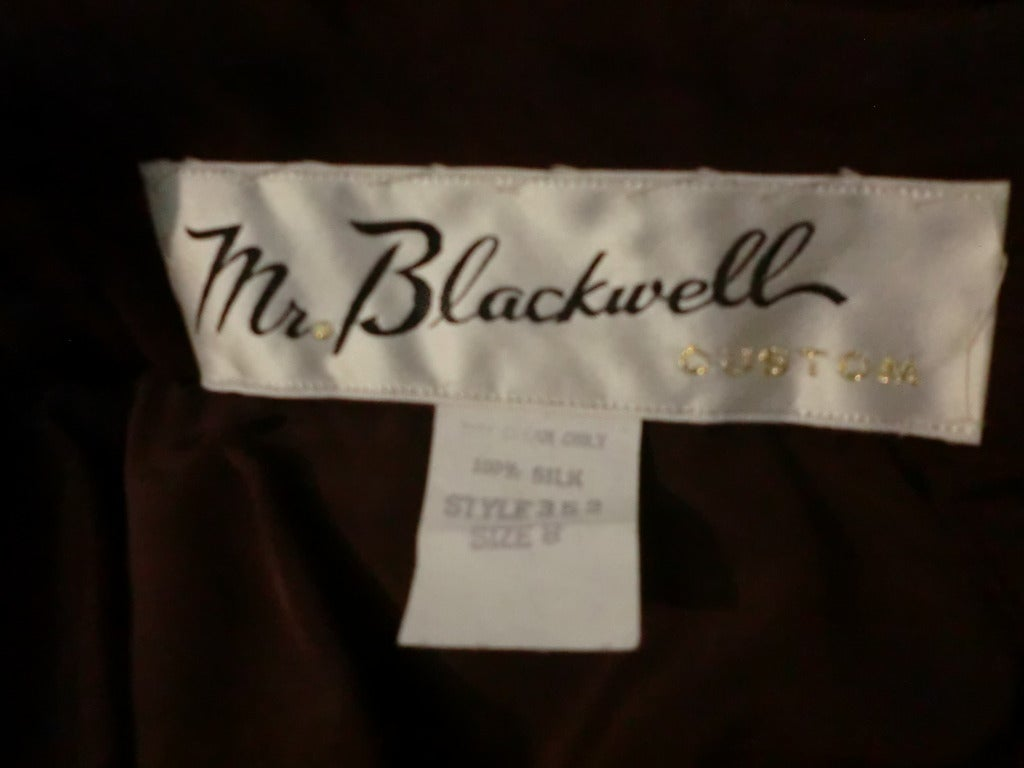 1970s Mr. Blackwell Chocolate Brown Chiffon Halter Gown For Sale 2