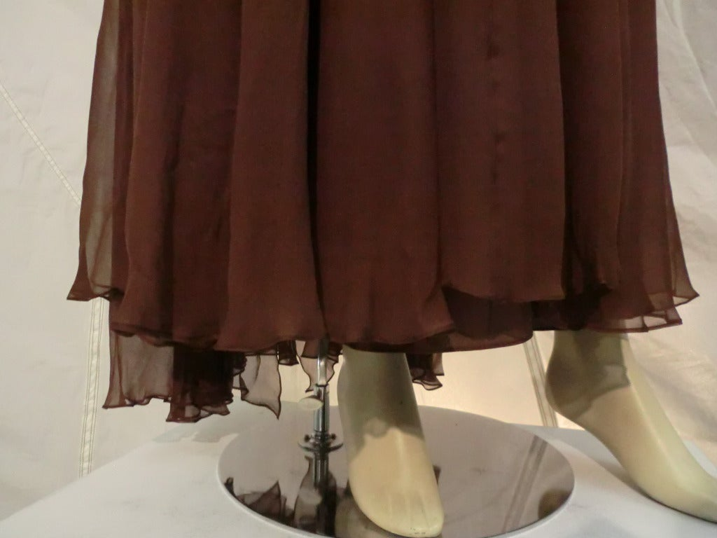 1970s Mr. Blackwell Chocolate Brown Chiffon Halter Gown For Sale 3