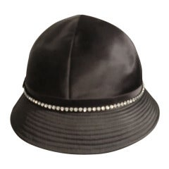 1960s Adolfo II Black Satin Hat w/ Rhinestone Band