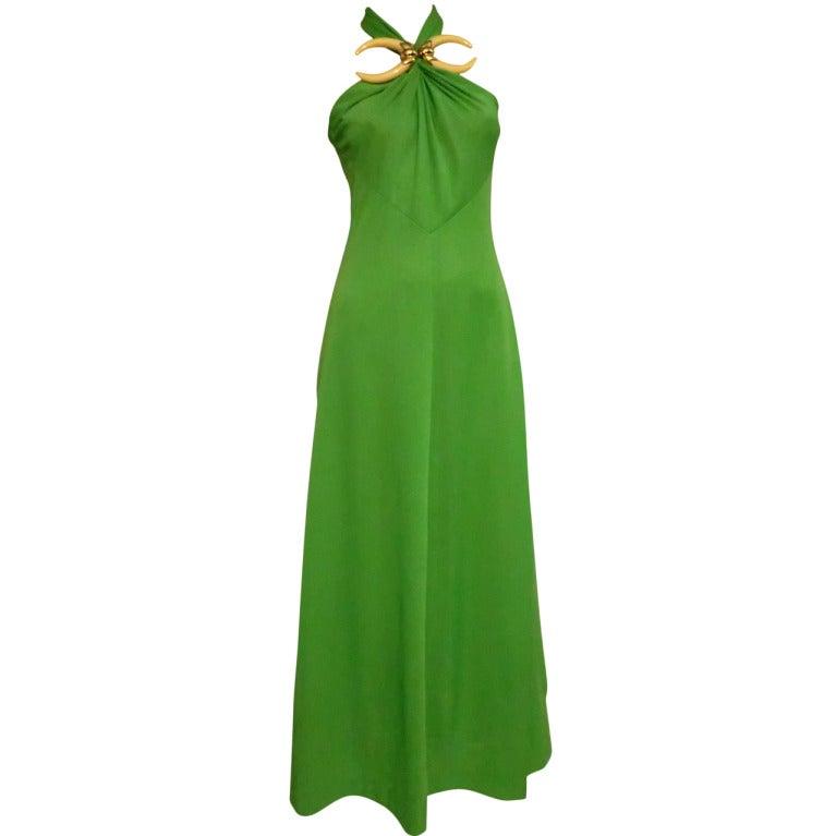 1970s Mignon Halter Gown w/ Huge Faux Tusk Neckpiece For Sale
