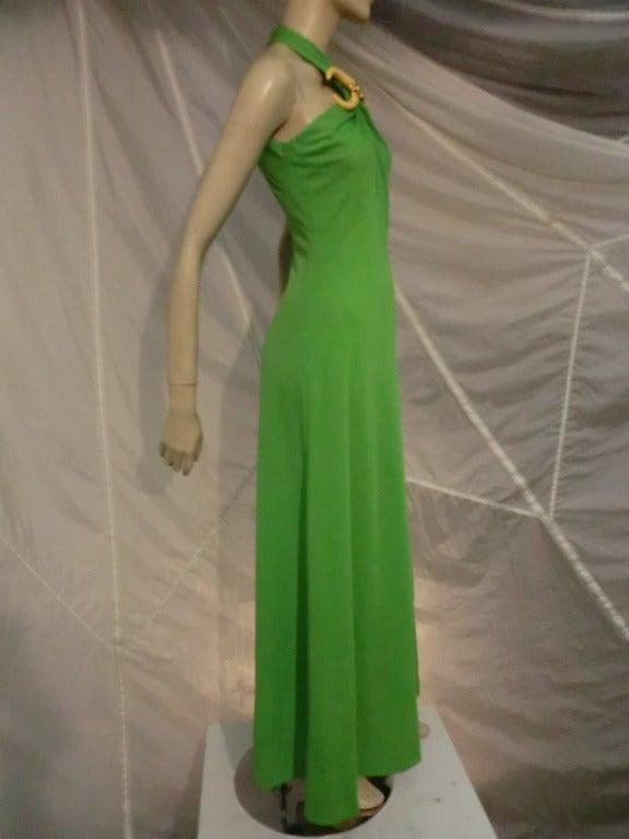 1970s Mignon Halter Gown w/ Huge Faux Tusk Neckpiece 2