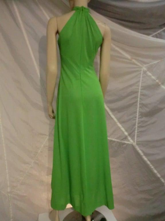 Green 1970s Mignon Halter Gown w/ Huge Faux Tusk Neckpiece For Sale