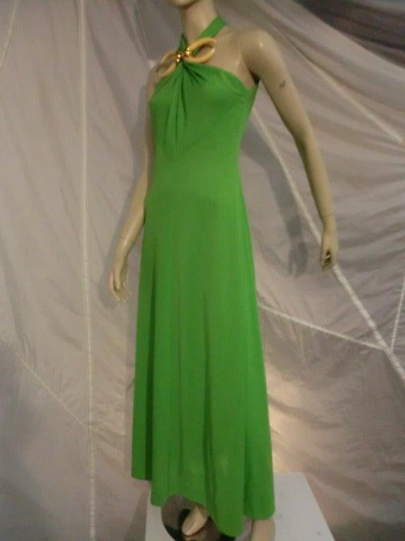 1970s Mignon Halter Gown w/ Huge Faux Tusk Neckpiece For Sale 2