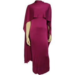 1970s Mr. Blackwell Magenta Rayon Jersey Disco Dress w/ Rhinestone Wrap