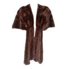 """1950s Chocolate Mink Stole w/ Front """"Streamers"""""""