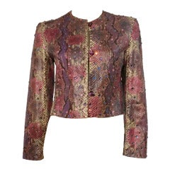 1980s Bill Blass Painted and Rhinestone Embellished Snakeskin Jacket