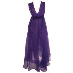 1970s Stephen Burrows Vivid Purple Chiffon Disco Dress