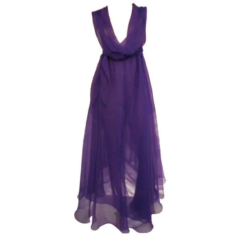 1970s stephen burrows vivid purple chiffon disco dress at 1stdibs