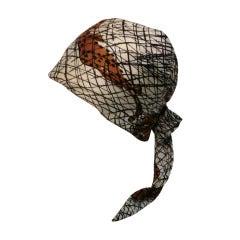 "1960s B.H. Wragge Leopard Print Silk ""Scarf Hat"""
