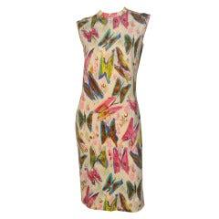 1960s Goldworm Wool Jersey Butterfly Printed Shift Dress