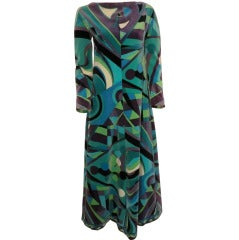 1960s Emilio Pucci Velveteen Maxi Dress in Turquoise and Geometrics