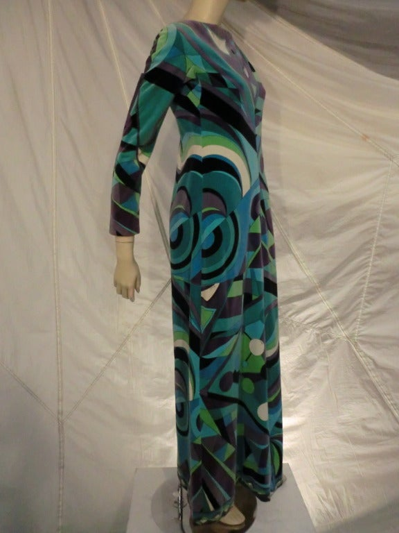 A wonderful 1960s Emilio Pucci hostess dress in geometric print velveteen.  Gorgeous.  Can be with zipper in front or back depending on the textile print desired.