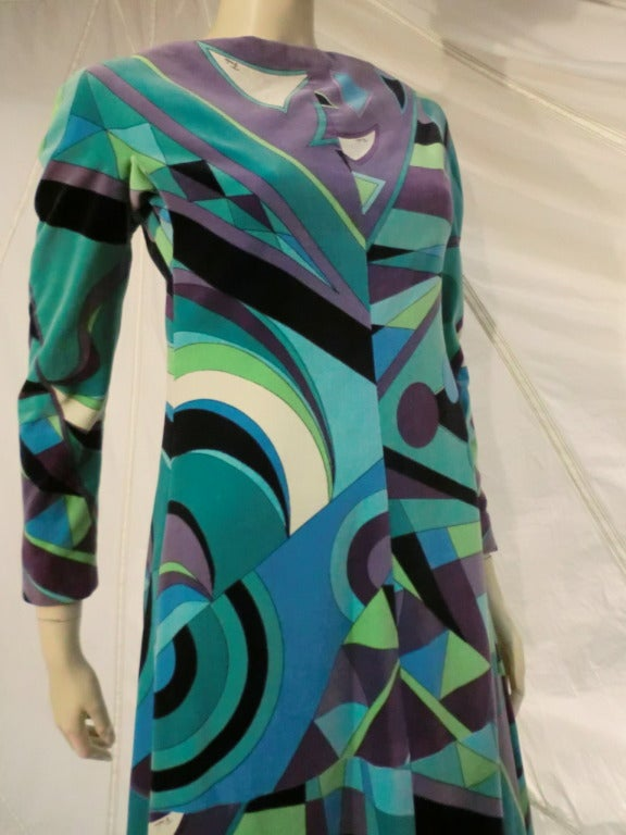 1960s Emilio Pucci Velveteen Maxi Dress in Turquoise and Geometrics In Excellent Condition For Sale In San Francisco, CA