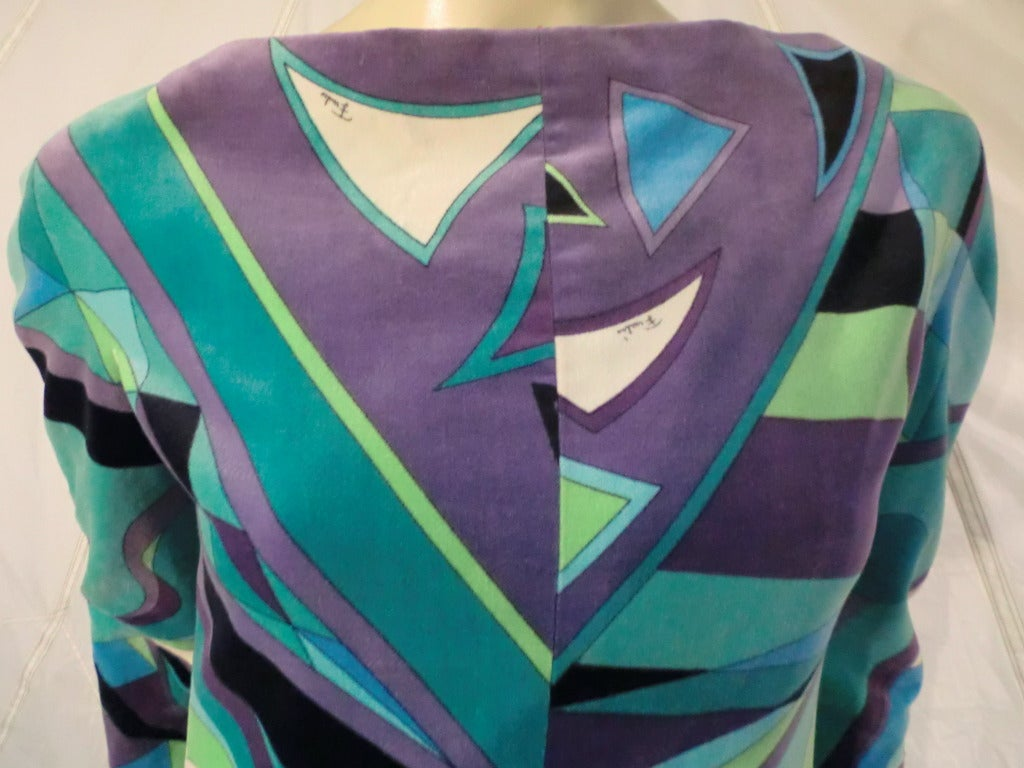 Women's 1960s Emilio Pucci Velveteen Maxi Dress in Turquoise and Geometrics For Sale
