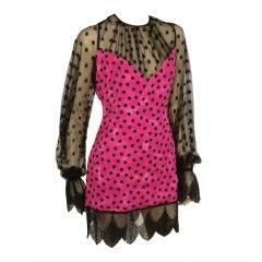 """1980s Galanos Polkadot Jacquard and Lace """"Negligee"""" Dress"""