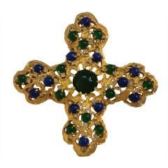 """Large 1970s Cabochon Embellished """"Byzantine-Style"""" Cross"""