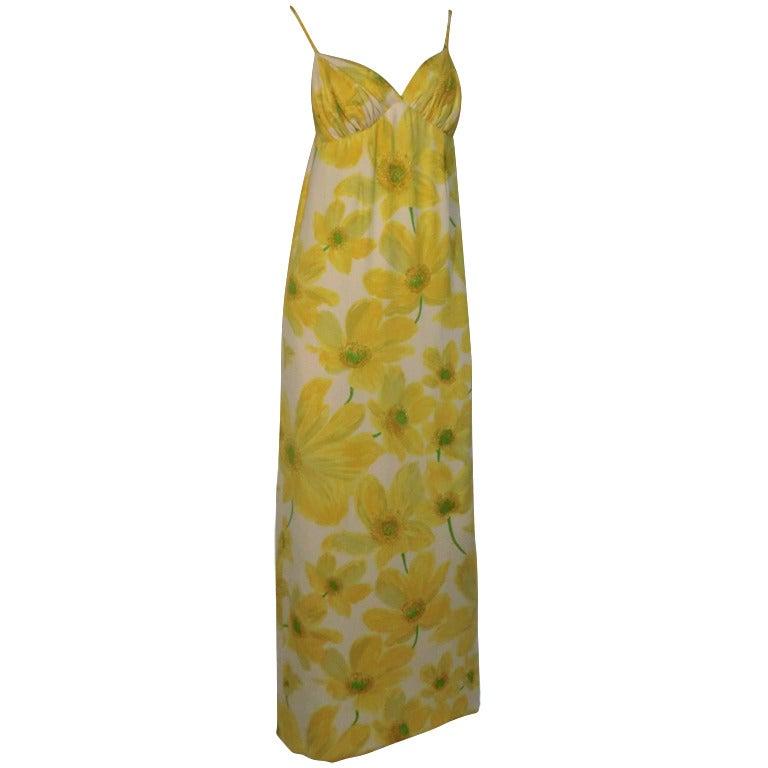 1960s James Galanos for Amelia Gray Daisy Print Column Gown w/ Silk Duster
