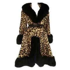 1960s Faux Leopard Princess Coat w/ Fox Fur Trim and Leather Belt