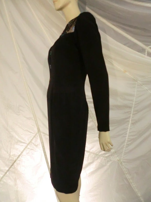 Black 1980s  Bob Mackie Deep Plunging Lace and Silk Crepe Cocktail Dress For Sale