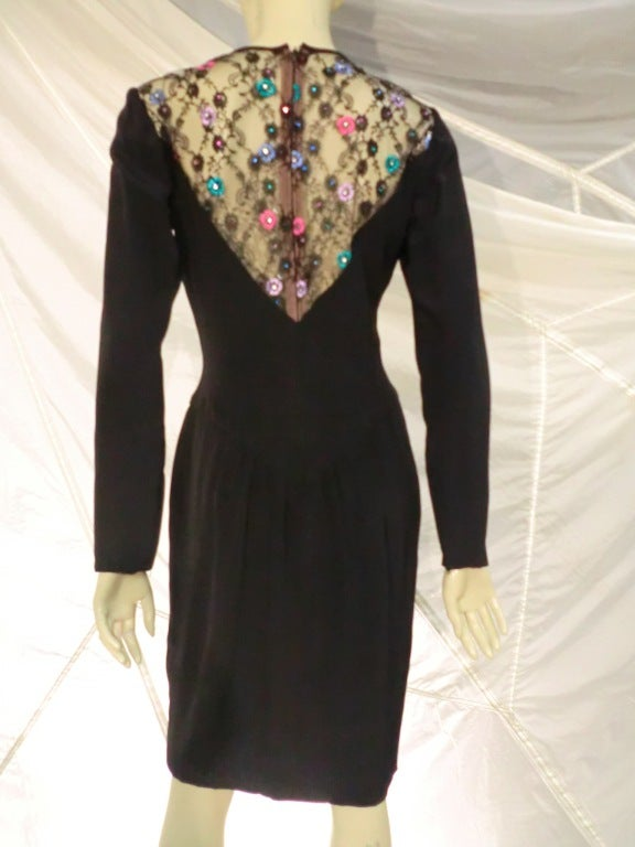 1980s  Bob Mackie Deep Plunging Lace and Silk Crepe Cocktail Dress In Excellent Condition For Sale In San Francisco, CA