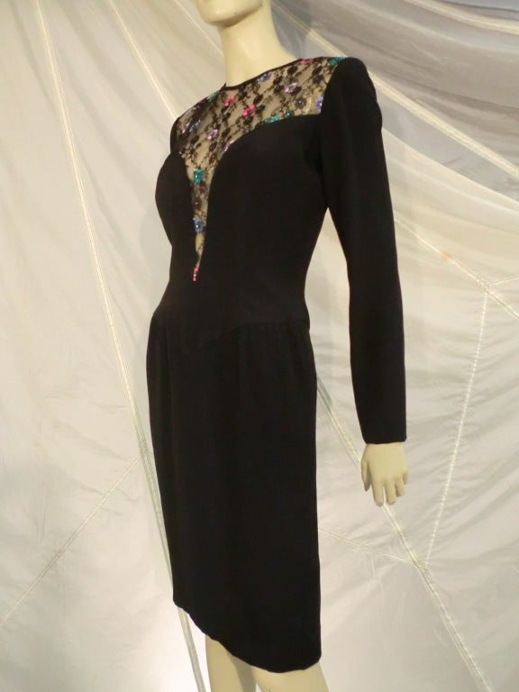 Women's 1980s  Bob Mackie Deep Plunging Lace and Silk Crepe Cocktail Dress For Sale